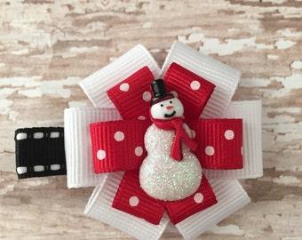 Glitter Snowman Hair Bow - Red Polka Dot Snowman - Snowman Hair Accessory - Snowman Clip - Holiday Hair Clip - Winter Hair Bow - Snowman