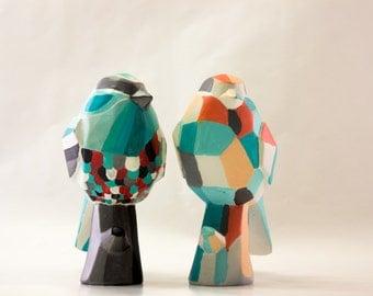 Hand-painted Ceramic Geometric Bird
