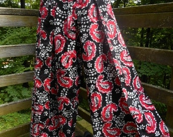 Wrap Pants - Cotton Batik Magenta and Black