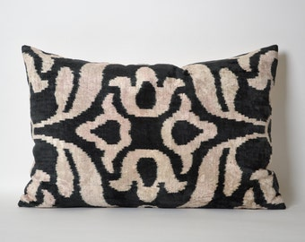 Silk Velvet Ikat Pillow Cover - Black Pinkish Ivory Soft Handwoven Ikat Velvet Modern Decorative Pillow Cover For Couch - Throw Pillow Ikat