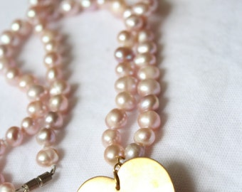 Collar short pink fancy beads and medal minted heart Golden SATAN