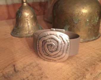 Soft Taupe Leather Bracelet with Antiqued Swirl - Handmade