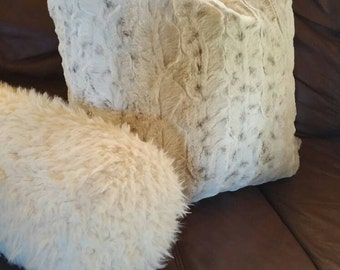 Any Size Including Body Pillow, Euro Sham, King Sham, and Standard Pillow Shams in Ivory, Beige, and Brown Snow Leopard