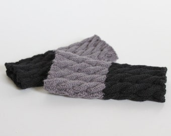 hand-knitted 2-in-1 boot cuffs/ plait boot toppers/ boot buffers/ leg warmers/ grey black color boot cuffs/ plait boot cuffs