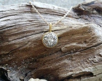 Tiny Gold and Silver Druzy necklace, Silver Crystal, Dainty, Druzy, Gold Necklace, Gold and Silver