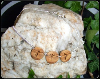 """Rune symbol Olive Wood Necklace Pendant  with Sterling Silver 25"""" chain unique gift"""