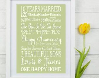 Alternative 10th Wedding Anniversary Gifts : Ten Year Wedding Anniversary Gift. Personalised Anniversary Gift ...