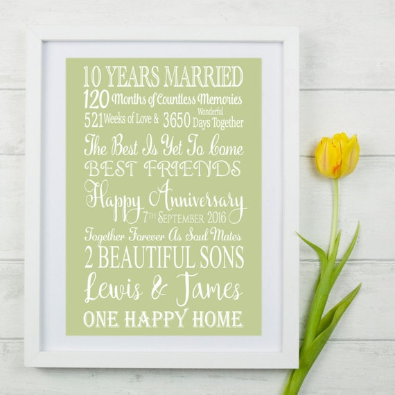 Ten Year Wedding Anniversary Gift. Personalised Anniversary