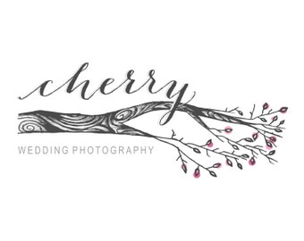 Premade Logo - Hand Drawn Cherry Blossom Logo Flowering Tree Branch Logo Natural Organic Logo Whimsical Logo Illustrated Photography Logo