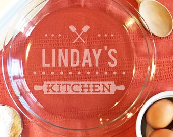 Baking Gifts, Custom Pie Plate, Custom Etched Pie Plate, Personalized Pie Plate, Etched Glass Pie Dish, Baking Dish, Kitchen Gift Idea