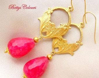 Agate earrings,vintage earrings,ruby agate,brass, teardrops earrings