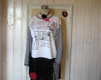Cell Phone Pocket -Plus size Upcycled Refashioned  Black White Stripes  Tunic