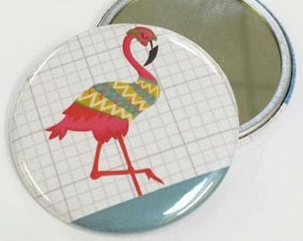 Flamingo Pig Pocket Mirror