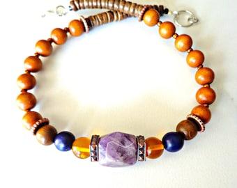 Men's Tribal Beaded Necklace, Men's Statement Necklace, Men's Amethyst Necklace, Guy Jewelry, Necklace For Men, Khepera Adornments