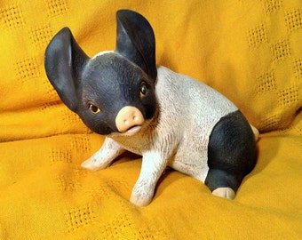 Large Black and White Pig Statue