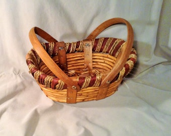 Woven Wicker Basket, 2 Handles - Red & Tan Trim - Picnic, Serving, Bread Basket - Fall, Autumn Country Kitchen Storage, Table Decor