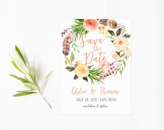 Save The Date, Peach Flower Wreath with Feathers, Boho Chic