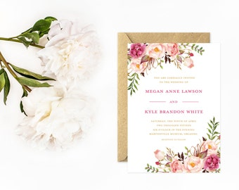 Boho Wedding Invitations, Hand Painted Flower Invitations, Rose Pink, Blush Pink and Gold
