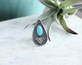 Turquoise Ring // Fox Turquoise // Spoon Ring // Sterling Silver // Floral // Size 7-7.25