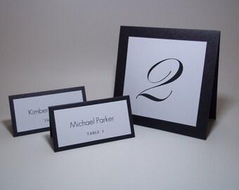 "Elegant Black Shimmer and White Tent Table Number Cards - 5"" x 5 "" -Wedding - Bridal Shower - Reception Decor"