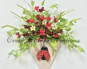 Summer Wreath, Ladybug Wall Pocket, Ladybug Door Decor, Ladybug Wreath, Summer Door Decor, Summer Floral, Summer Arrangement, Ladybug