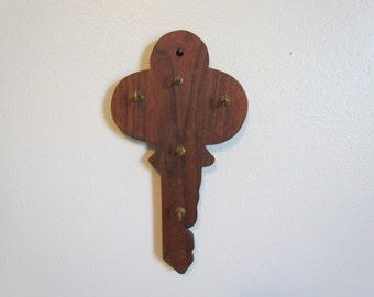Vintage Wood Key Shaped Key Holder Kitchen Wall Decor Key Hooks Decorative Key Rack