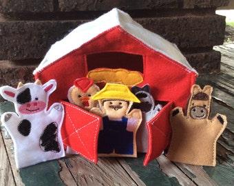 Red Felt Barn , Fun Farm Felt Finger Puppet Play Set , Farm Play Set