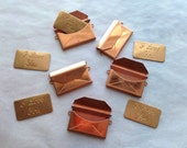 5 Vintage Copper Pocketbook and I love you charms-jewelry components-vintage findings