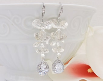 Matte Silver Orchid And Cubic Zirconia Bridal Earrings CZ Cascading Orchid Bridal Earrings Cz Teardrop Bridal Earrings FREE US Ship