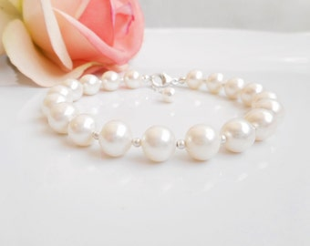 Free US Ship AAA Freshwater Pearl And Sterling Silver Bridal Bracelet Big AAA Freshwater Pearl Bridal Bracelet Pearl Wedding Bracelet
