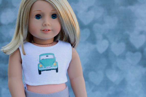 American Made Doll Clothes | Graphic CROP TOP with Mint Green Volkswagen Beetle Bug for 18 inch doll such as American Girl Doll