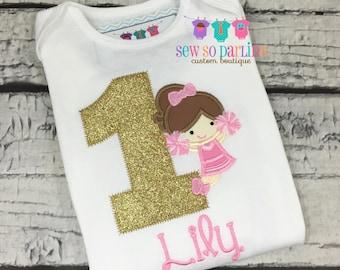 Girls Pink and Gold Cheerleader Birthday Outfit - Girls 1st Birthday Shirt -  Cheerleader Birthday Outfit - Cheerleader Birthday Shirt