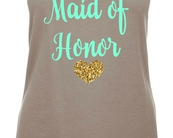 Maid Of Honor Tank Tops, Gray Maid Of Honor Tank Top, Bridal Party Shirts, Wedding Tank Tops, Tank Tops, Maid of honor Gift,