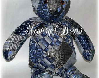 Custom Neck Tie Memory Bears, Down Payment for Quilted Memory Bears Bereavement Gift from Quilt Me a Memory!