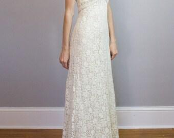 1970's crochet lace gown / XXS XS / petite