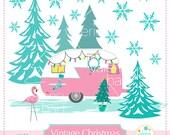 Merry Christmas, Vintage Camper Whimsical Christmas Clip Art / Vintage Camper / Pink Flamingo / Instant Download
