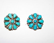 Vintage Old Pawn Native American Zuni Sterling Silver Turquoise Rosette Cluster Clip On Earrings