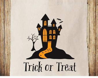 Halloween Trick or Treat Bag, Haunted Mansion Bag, Haunted House Personalized Treat Bag, Halloween Tote Bag, Trick-or-treat Bag, Bucket