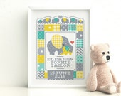 Elephant Birth Sampler  Customisable Cross Stitch Pattern (Digital Format  PDF)