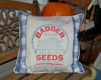 Vintage Seed Sack Pillow Cover - Blue Plaid 20 x 20