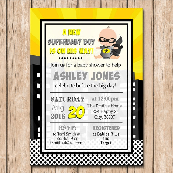 batman superhero baby shower invitation african american option 1