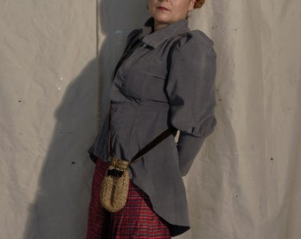 Grey Cotton Velvet Victorian Jacket