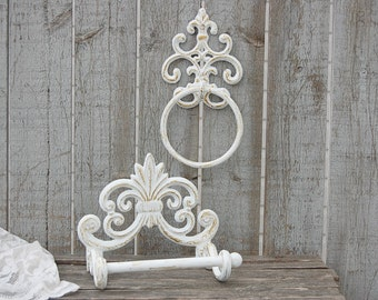 Shabby Chic Toilet Paper Holder, Towel Ring, Gold, White, Bathroom Set, Bath Tissue Holder, Rustic, Hand Painted, Cast Iron, French Decor
