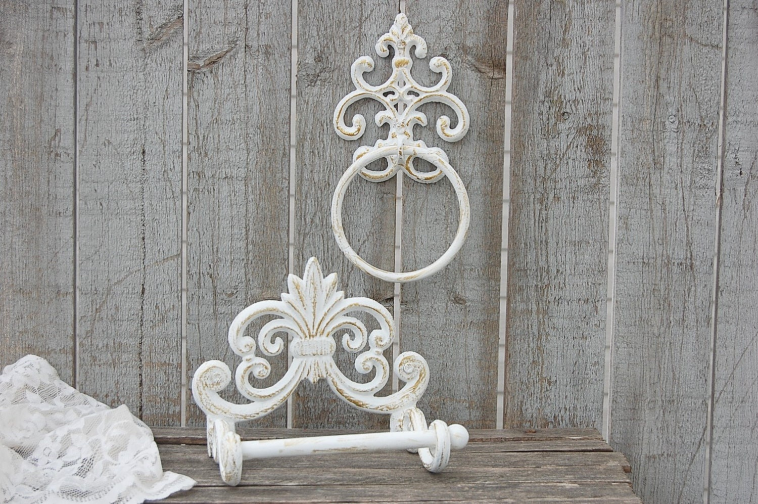 shabby chic toilet paper holder towel ring gold white