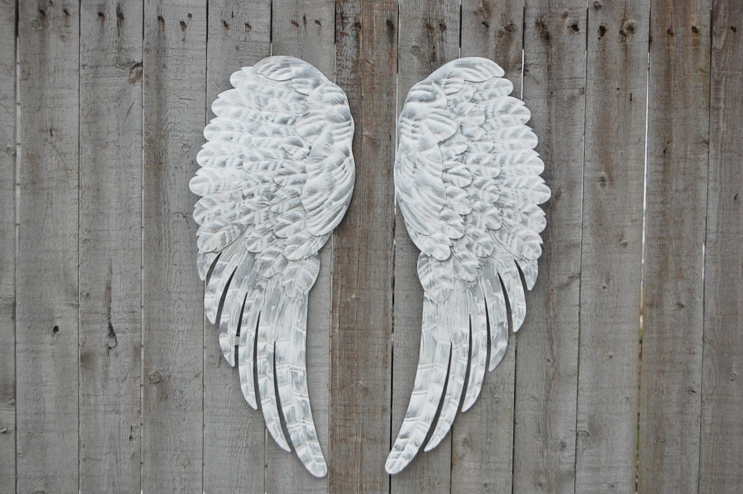 Angel wings shabby chic white silver large metal for Angel wall decoration