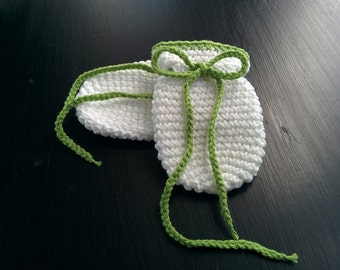 Baby mitts no thumbs, 0-6 months, green and white
