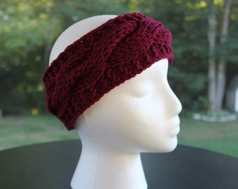 "Cabled Headband, Merlot ""The Katie"""