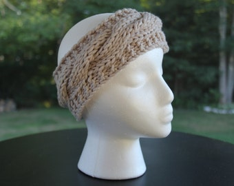 "Cabled Headband, Beige ""The Katie"""