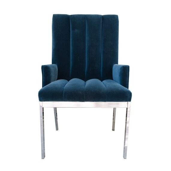 Milo Baughman for DIA Navy Blue Velvet Chrome Parsons Chair
