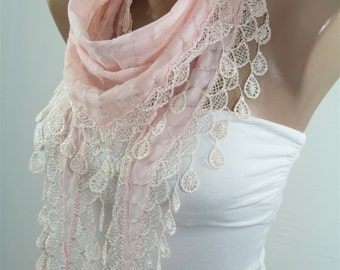 VALENTINES Day Gift Scarf Soft Pink Scarf Cowl Scarf with Lace Gift ideas for her Bridesmaids Gifts Spring Summer Fall Winter Fashion Holida